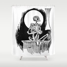 Skeleton waiting Shower Curtain
