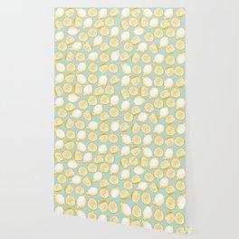 Lemons On Turquoise Background Wallpaper