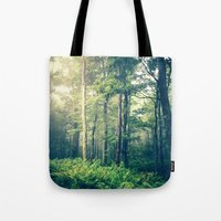 woods Tote Bags featuring Inner Peace by Olivia Joy StClaire