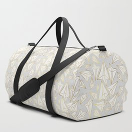 Paper Airplanes Faux Gold on Grey Duffle Bag
