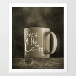 Fresh Hot Coffee - Black and White Photography Art Print