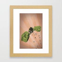 Green-Bot Jump Framed Art Print