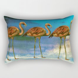 Tropical Flamingo Illustration On Watercolor - Birds Animals Rectangular Pillow