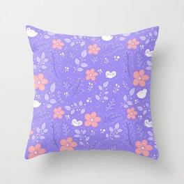Cute bird and flower pattern Throw Pillow