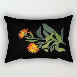 Calendula Officinalis Mary Delany Floral Paper Collage Delicate Vintage Flowers Rectangular Pillow