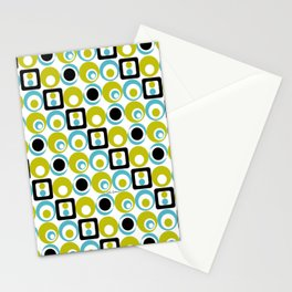 Lime Turq Black White Circles Squares Stationery Cards