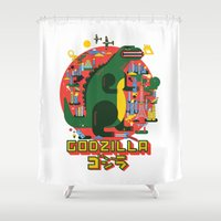 godzilla Shower Curtains featuring GODZILLA by Katboy 7