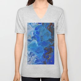 Storm Surge Blue and Brown Fluid Acrylic Abstract Painting Unisex V-Neck