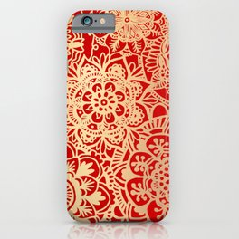 Red and Gold Mandala Pattern iPhone Case