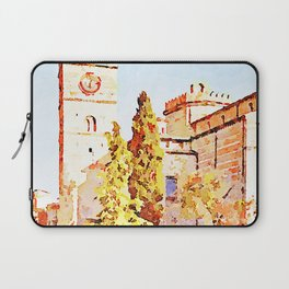 Teramo: people, trees with cathedral and bell tower Laptop Sleeve