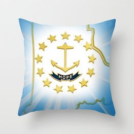 Rhode Island Map and State Seal with Sunburst - Ocean State portrait Throw Pillow