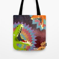 dinosaurs Tote Bags featuring DINOSAURS by Cody Weber