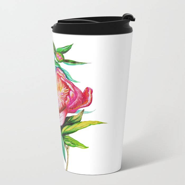 bright red pink peony Metal Travel Mug