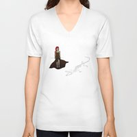 crocodile V-neck T-shirts featuring Crocodile by Leah Gonzales