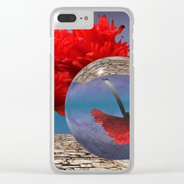 poppy and crystal ball - refraction of light Clear iPhone Case