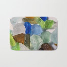 Colorful New England Beach Glass Bath Mat