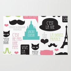 Vintage style Paris typography and illustration pattern Rug