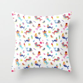 Seaside Mermaids - White Throw Pillow