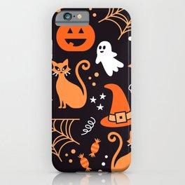 Halloween party illustrations orange, black iPhone Case