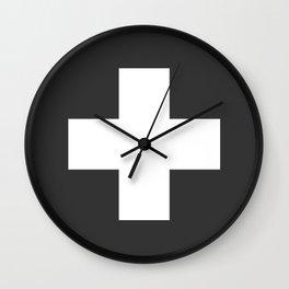 Swiss Cross Charcoal Wall Clock