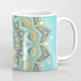 Cyan & Golden Yellow Sunny Skies Medallion Coffee Mug