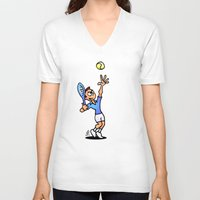 tennis V-neck T-shirts featuring Tennis by Cardvibes.com - Tekenaartje.nl