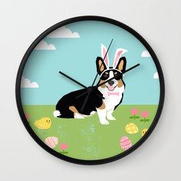Corgi easter dog breed pet art tricolored corgis portrait Wall Clock
