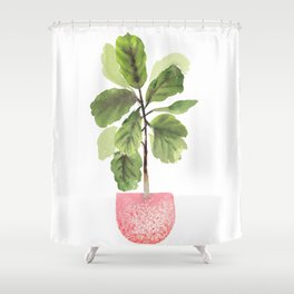 Fiddle-Leaf Fig (Watercolor) Shower Curtain