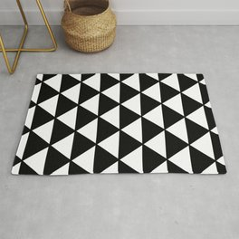 Black And White Triangles Pattern Rug