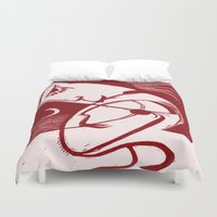 asexual Duvet Covers featuring Asexual Kiss By The Sea And Under A Crescent Moon by taiche