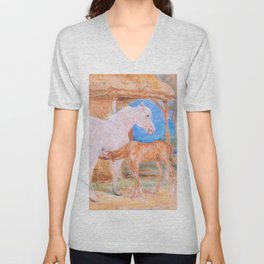 Gray Mare And A Chestnut Foal - John Frederick Lewis Unisex V-Neck