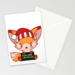 Foxy Fox Dear Santa I Can Explain Naughty List Christmas Xmas Holiday Season T-shirt Design Stationery Cards