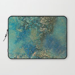 Blue And Gold Modern Abstract Art Painting Laptop Sleeve
