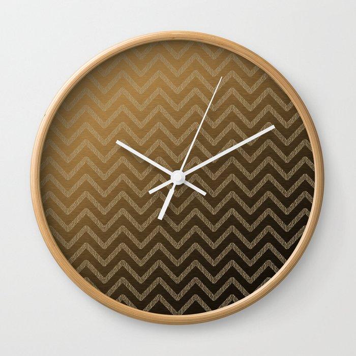 Brass glitter chevron pattern Wall Clock
