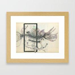 rose-Fish-bone dinosaur Framed Art Print