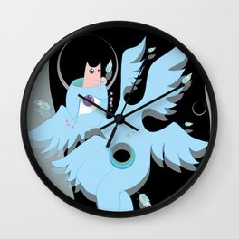 angel with cat for brains Wall Clock