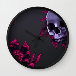 Skull & Chrysanthemum Wall Clock