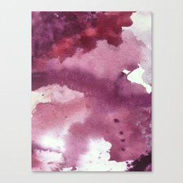 Blushing [2]: a minimal abstract watercolor and ink piece in shades of purple and red Canvas Print