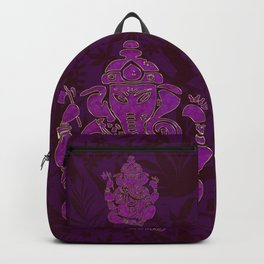 Ganesha Elephant God Purple And Pink Backpack