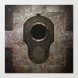 M1911 Colt 45 Muzzle On Rusted Riveted Metal Canvas Print