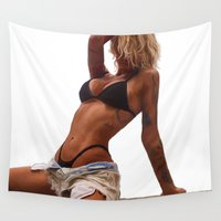 tina Wall Tapestries featuring Tina by Nick Bizzack Designs