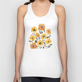 Sunflower Watercolor – Yellow & Black Palette Unisex Tank Top