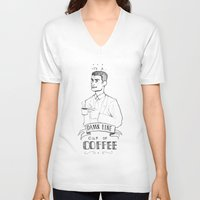 dale cooper V-neck T-shirts featuring DALE COOPER - A FINE CUP OF COFFEE by Adrianna Ojrzanowska
