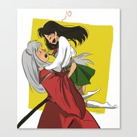inuyasha Canvas Prints featuring Inuyasha and Kagome by Lara Pickle