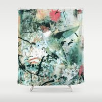 hummingbird Shower Curtains featuring Hummingbird by RIZA PEKER