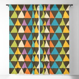 Retro Color Block Triangle Brown Blackout Curtain