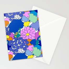 Far-Out 60's Floral in White Stationery Cards