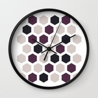 honeycomb Wall Clocks featuring Honeycomb by LONEWLF