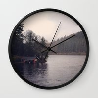 cabin Wall Clocks featuring Cabin by Belle and Alaska