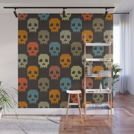 Knitted skull pattern - colorful Wall Mural